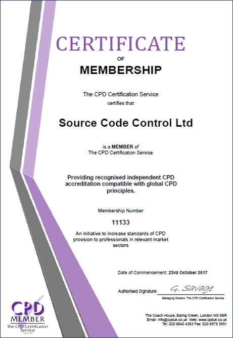 SCC CPD Certificate